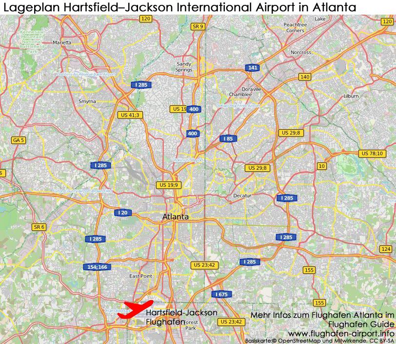 atlanta karte FLUGHAFEN ATLANTA | Hartsfield Jackson Airport (ATL)| Infos