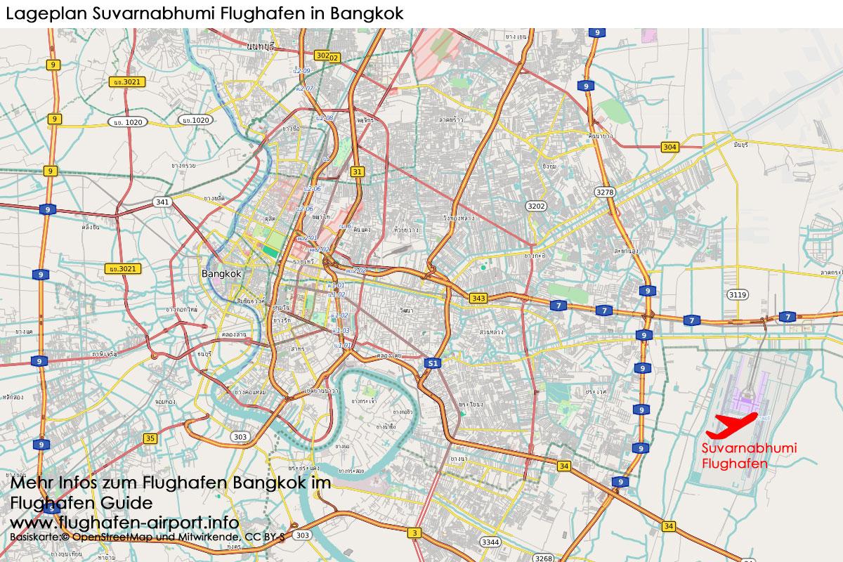 Bangkok Karte.Flughafen Bangkok Suvarnabhumi New Airport Bkk Infos Transfer